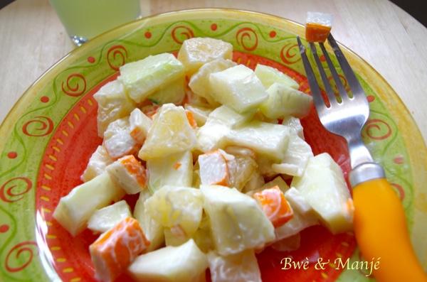salade de manioc et papaye verte