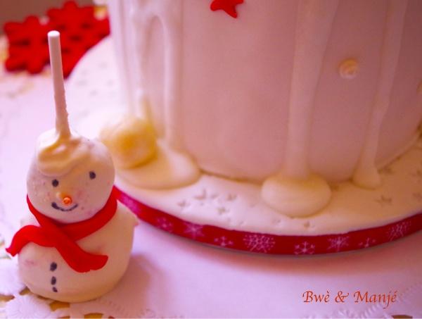 cake pop bonhomme de neige