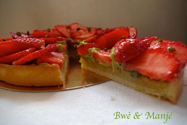 part tarte fraise pistache