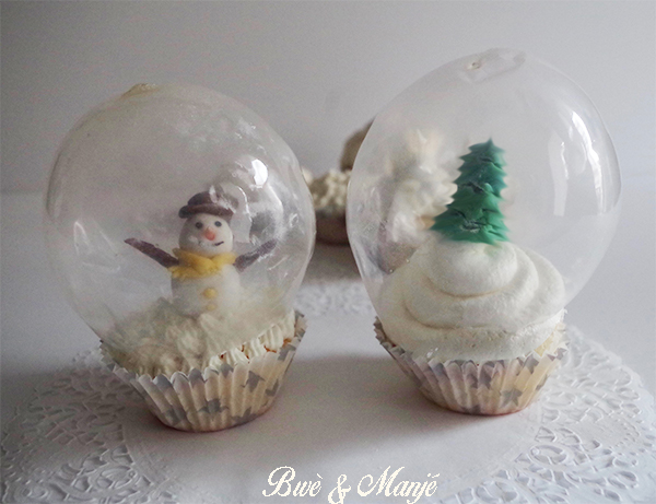 cupcakes illusion boule de neige en verre gourmandises pic es. Black Bedroom Furniture Sets. Home Design Ideas