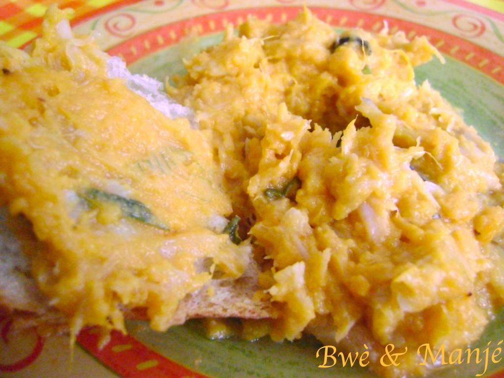 Brandade de morue aux patates douces et lait de coco