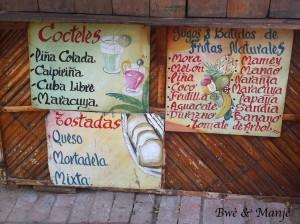 Jus et coktails.Mon préféré le jus de Maracuja!