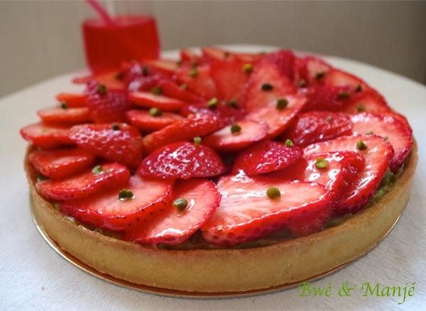 Tarte fraises pistache {fiche technique cap pâtissier}